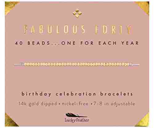 Lucky Feather 40th Bday Gold-Dipped Adjustable Bead Bracelet