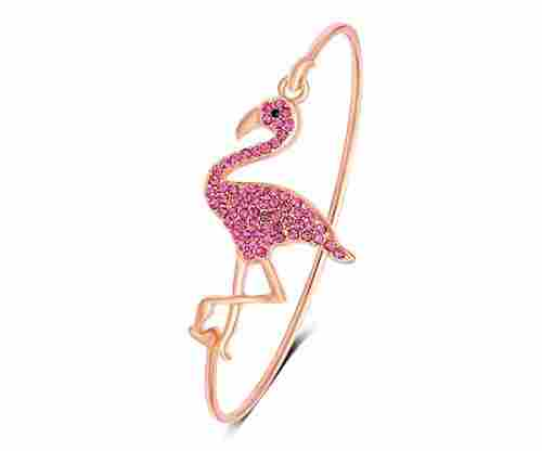 SENFAI Full Rhinestone Pink Flamingo Can Open Bangle