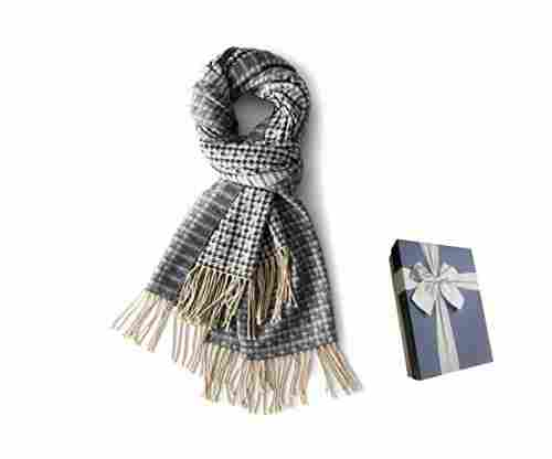Houndstooth Cashmere Scarf for Women