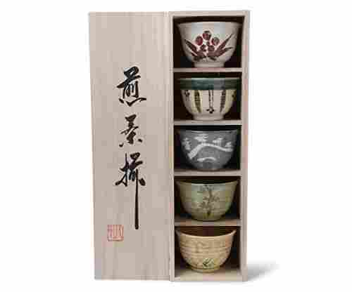 Japanese Teacup Gift Set in Wooden Gift Box by MIYA