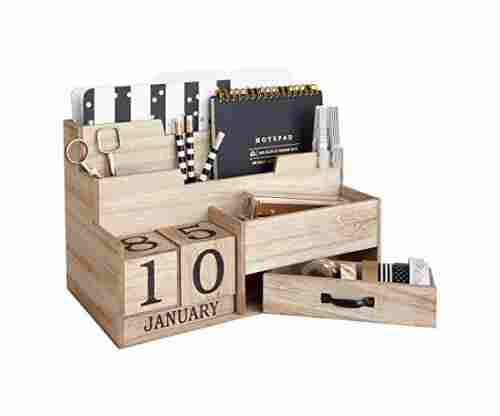 Wooden Mail Organizer Desktop with Block Calendar