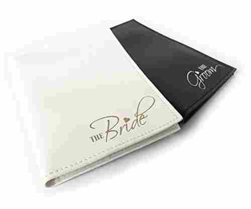 The Bride & The Groom Honeymoon Passport Holders Set