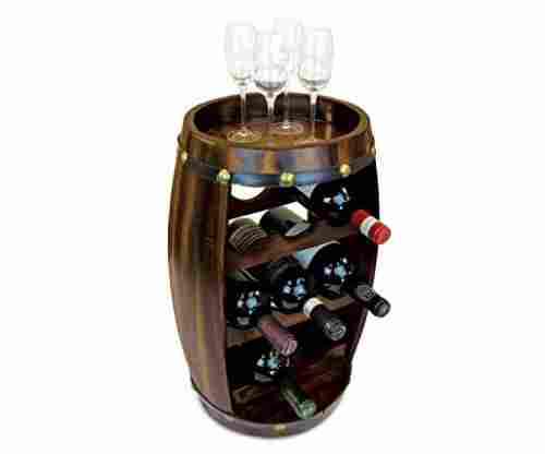 Contemporary Barrel Wooden 8 Bottle Wines Rack