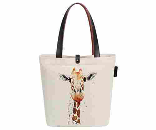 Women's Loving Giraffes Tote Bag in Natural Cotton Canvas
