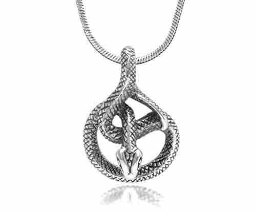 925 Sterling Silver Cobra Snake Pendant Necklace