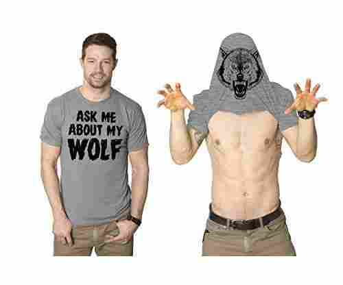Ask Me About My Wolf Flip Up T-Shirt