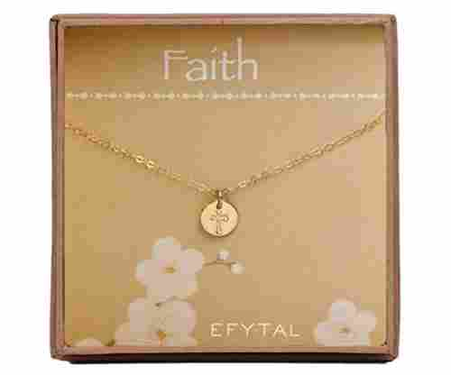 ETiny Gold Filled Faith Cross Necklace