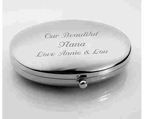 Personalized Silver Oval Compact Mirror