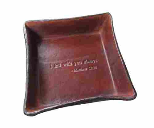 Twin Saints Bible Verse Leather Tray 'I Am with You Always' from Matthew 28:20