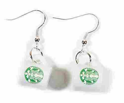 Style-ARThouse Coffee Lover: Tiny Coffee Cup Earrings on Silvertone French Wires