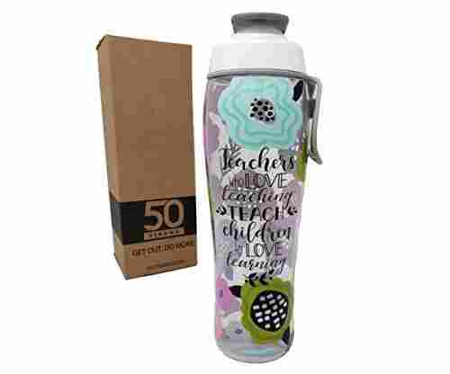 50 Strong Teacher Water Bottle