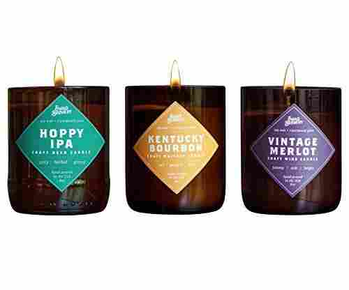 Brew Candle 3-Pack (Hoppy IPA + Kentucky Bourbon + Vintage Merlot) – Hand Poured in USA
