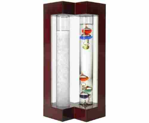Lily's Home Desktop Weather Station with Galileo Thermometer and Fitzroy Storm Glass Weather Predictor