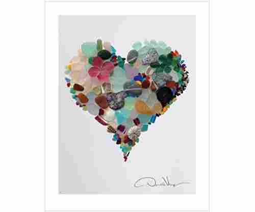Sea Glass Heart Poster Print From The Heart Collection
