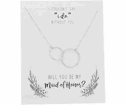Sterling Silver Infinity Interlocking Double Circles Necklace
