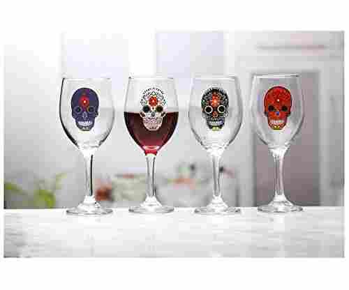 Circleware Sugar Skull Wine Glasses
