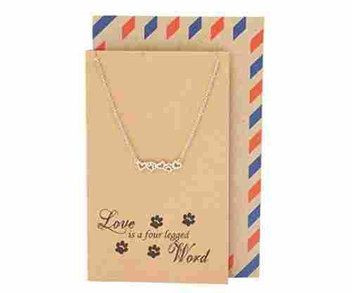 Quan Jewelry Paw Print and Heart Necklace