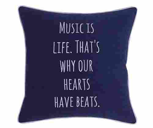 Music Themed Embroidered Pillow
