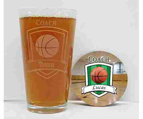 Basketball Coach Glass and Coaster Set