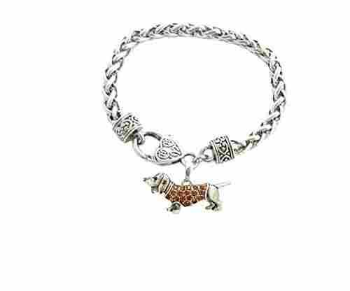 Weenie Dog Crystal Charm Bracelet