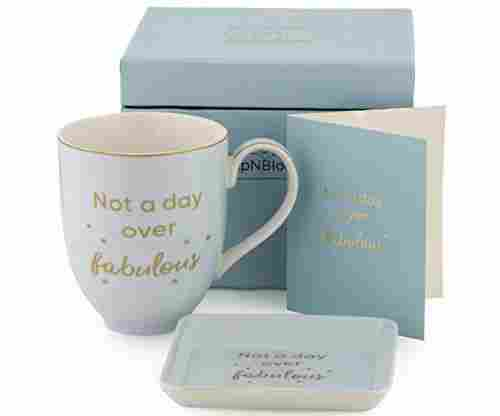 "Coffee Mug, Tea Cup With ""Not a Day Over Fabulous"" Quote & Jewelry Dish"