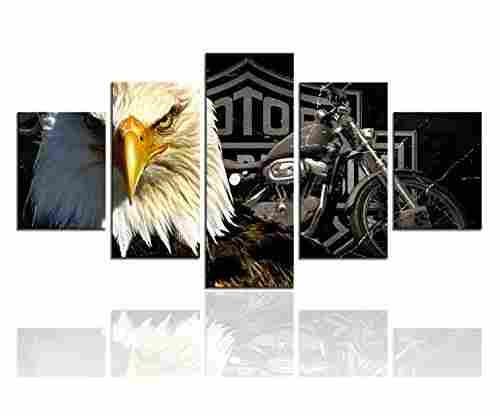 Meigan Art-Modern American Eagle Motorcycle Canvas Art Print