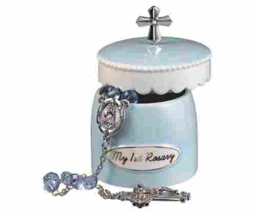 Blue Rosary Keepsake Box