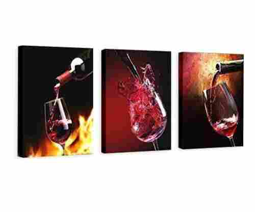 3 Panels Framed Wine Canvas Prints