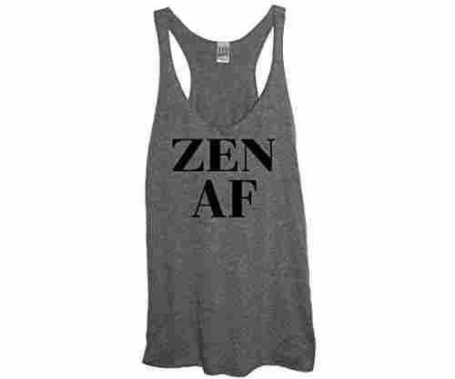 Zen AF Soft Tri-Blend Women's Heather Gray Racerback Tank Top