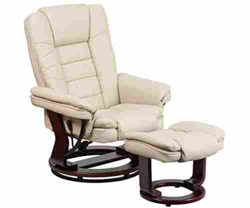 Flash Furniture Contemporary Beige Leather Recliner and Ottoman