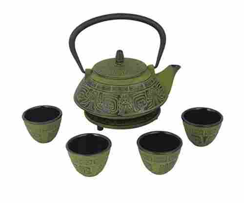 Japanese Cast Iron Pot Tea Set w/Trivet