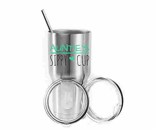 Auntie's Sippy Cup Stainless Steel Tumbler with 2 Lids and Straws
