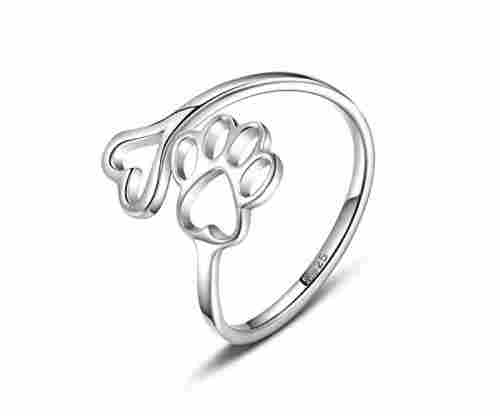 Paw Print Love Heart 925 Sterling Silver Open Ring
