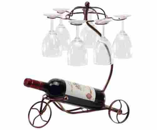 Vintage Parisian Style Bronze Tricycle – 6 Wine Glass & Bottle Holder