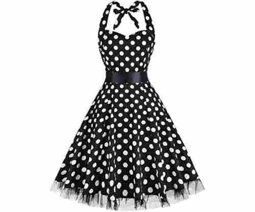OTEN Women's Vintage Polka Dot Halter Dress