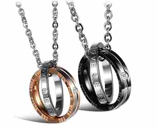 Feraco His and Hers Titanium Stainless Steel Necklace