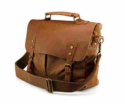 Genuine Leather Canvas Messenger