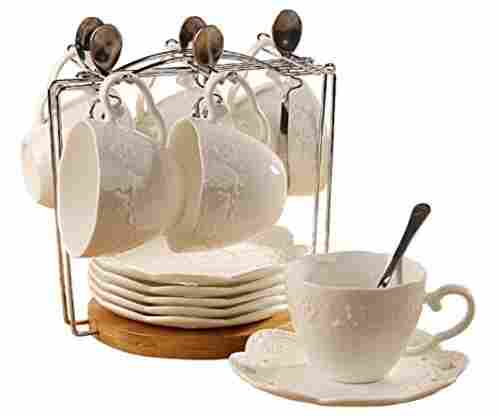 White China Tea Cup and Saucer with Spoon, Set of 6