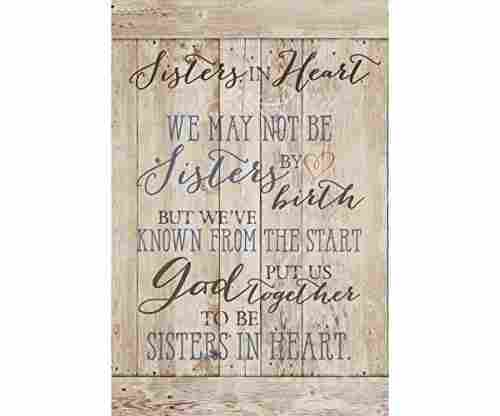 Dexsa Sisters in Heart New Horizons Wood Plaque with Easel Back
