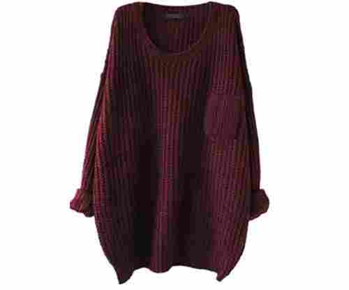 Women's Casual Unbalanced Crew Neck Jumper