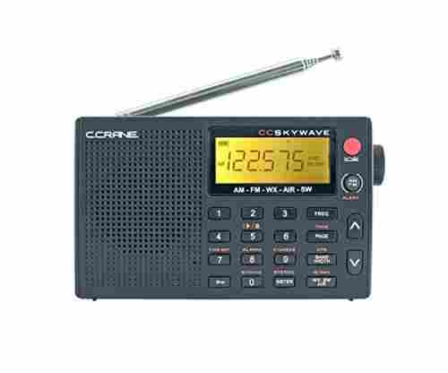 AM, FM, Shortwave, Weather and Airband Portable Travel Radio with Clock and Alarm