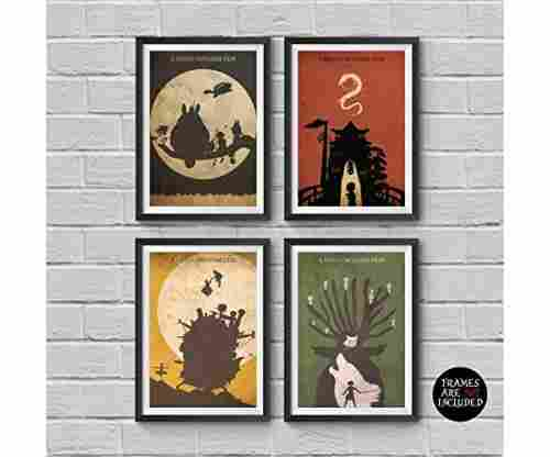Hayao Miyazaki Anime Movie Posters – Set of Four