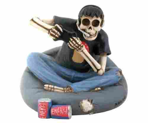 Skull Gamer Sitting on Cushion Collectible Figurine