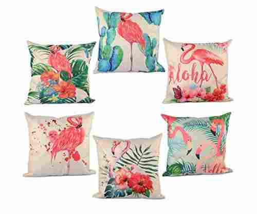 6 Flamingo Pattern Cushion Covers/Pillowcase Set