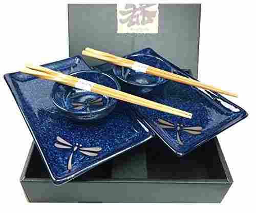 Dragonfly Ceramic Sushi Set For Two
