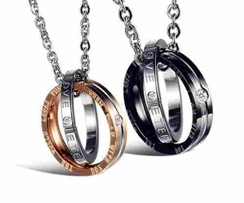 His & Hers Matching Set Stainless Steel Necklaces