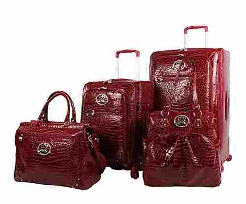 Kathy Van Zeeland Croco PVC Luggage Set of 4 Pieces