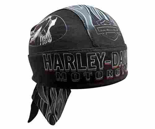 Harley Davidson Men's Engulfed Flaming Skull Head Wrap