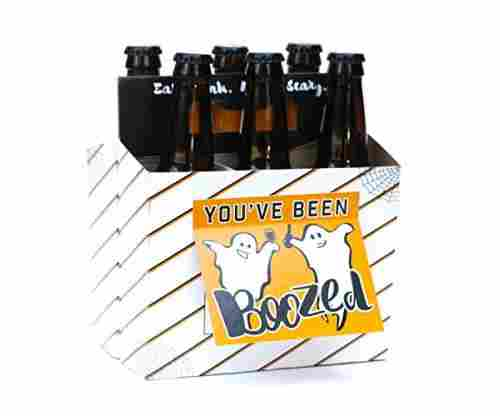 Halloween Six-Pack Greeting Card Beer Holder (Set of 4)