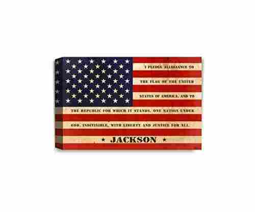 IPIC – American Flag, Personalized Canvas Print with Family Name and Oath